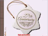 3dRose orn_154469_1 27Th Anniversary Gift -Gold Text Celebrating Wedding Anniversaries Years