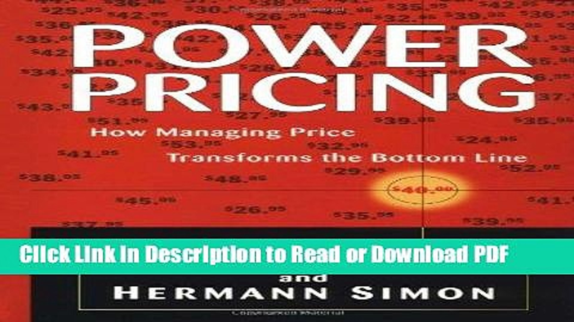 Download Power Pricing: How Managing Price Transforms the Bottom Line Ebook Online
