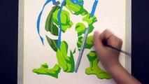 SPEED DRAWING LEONARDO - Teenage Mutant Ninja Turtle Watercolor Painting