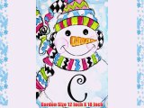 WHIMSY SNOWMAN  - Monogram -  C  - Garden Size 12 Inch X 18 Inch Decorative Double Sided Flag