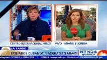 """Cubanos exiliados en Miami exigen con protestas """"libertad y democracia"""" para La Habana"""