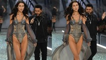 The Weeknd Ogles at Bella Hadid During Victoria's Secret Paris Fashion Show