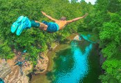 Cliff Jumping. Extreme Cliff Jumping & Giant Rope Swing