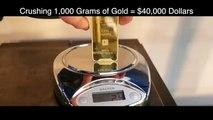 Mette un lingotto d'oro da 40,000 dollari nella pressa idraulica. Ecco cosa succede: