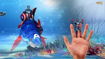 Superheros Shark Hulk Ironman Captain america Finger family - fat spiderman Finger family Rhymes 3d