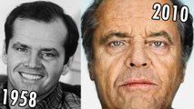 Jack Nicholson  (1958-2010) all movies list from 1958! How much has changed? Before and After!  The Shining, One Flew Over the Cuckoo's Nest, The Departed, The Bucket List, Batman, As Good as It Gets, ChinaTown