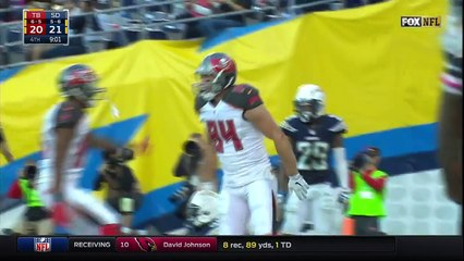 jameis winston connects with cameron brate for a big td buccaneers vs chargers nfl