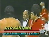 Gene Okerlund presents the new IC Title to Tito Santana   Championship Wrestling Sept 28th, 1985