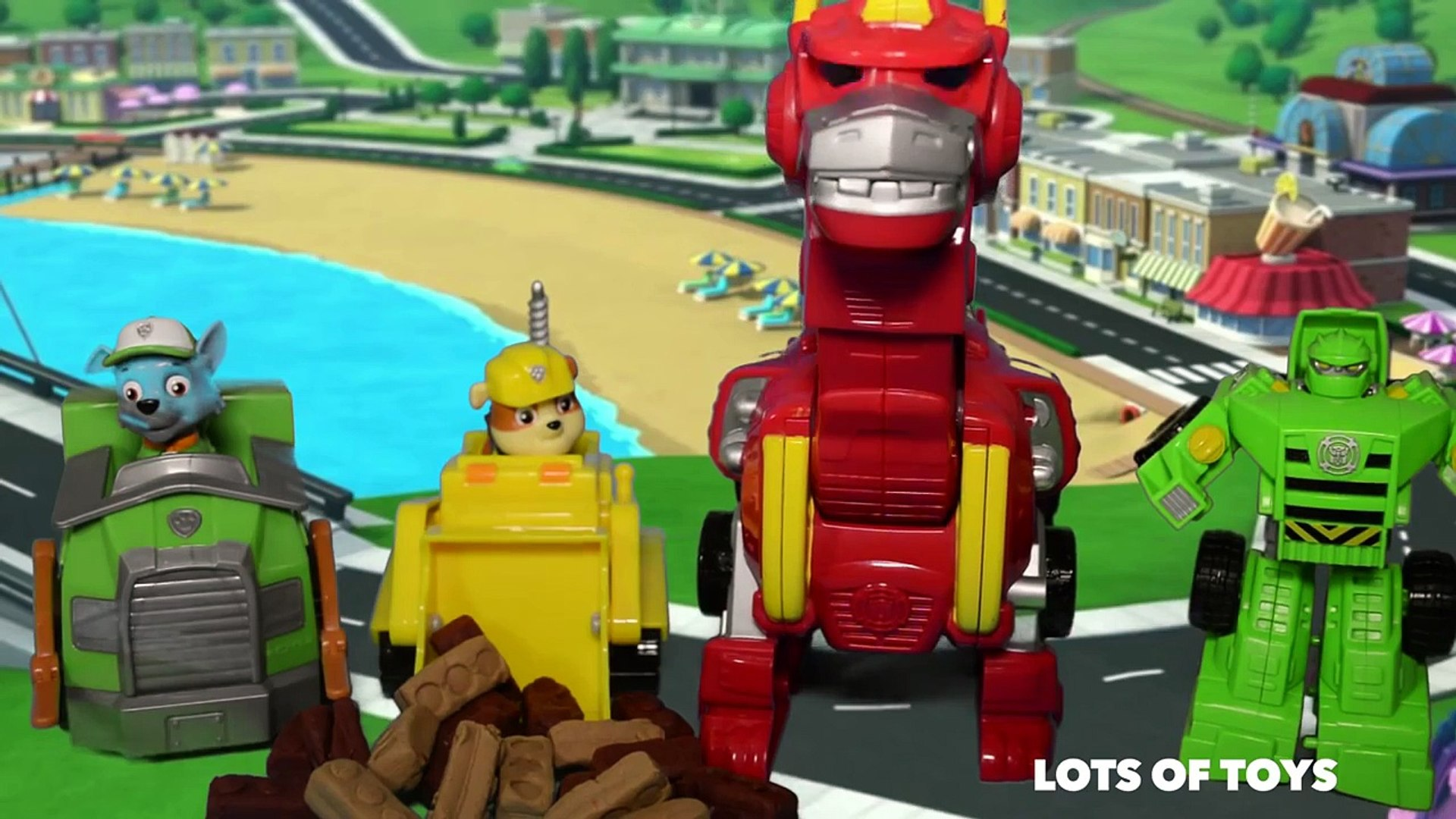 Transformers Rescue Bots, Heatwave Dino Bot and Rubble, Rocky Save the Flood Toy Review