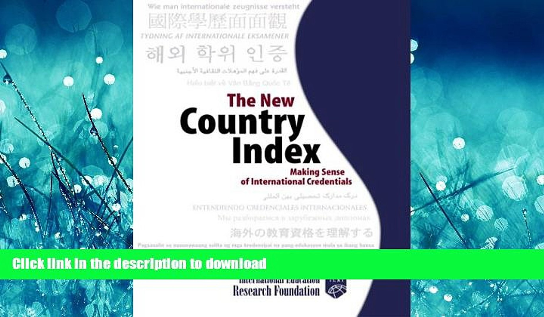 Hardcover The New Country Index: Making Sense of International Credentials