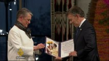 Colombia's president receives Nobel Peace Prize