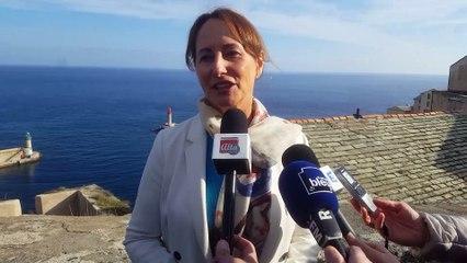 Visite en Corse de Ségolène Royal entre Parc Naturel Marin, centrales électriques au gaz naturel et énergies renouvelables