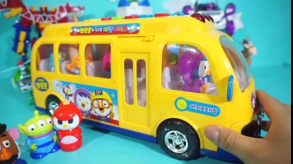 Pororo friends and Disney friends Pororo bus toy and jelly monster