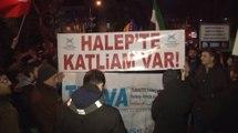 Rusya Büyükelçiliği önünde Halep protestosu