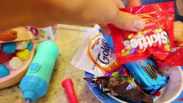 Rainbow Teeth CANDY Play Doh EAT SHOPKINS Doctor Drill n Fill gets Rotten Candy Teeth - Dentist Kit