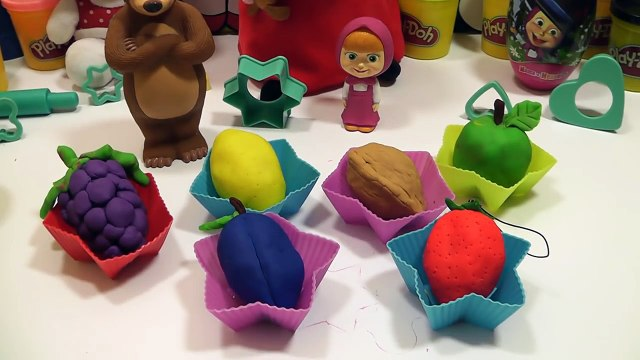 Play Doh Surprise Eggs Fruits Hello Kitty Spongebob Masha i Medved Peppa Pig
