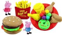 play doh stop motion ** peppa pig creation hamburger cake KFC chickens leg funny