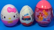 3 surprise egg with toys! HELLO KITTY surprise egg Disney PRINCESS surprise egg Kinder Surprise Spon
