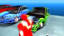 Ironman Colors and Friends Test Drive Crashed Mercedes Benz Cars Colors Nursery Rhymes Action