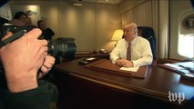 Trump speaks to reporters on Air Force One