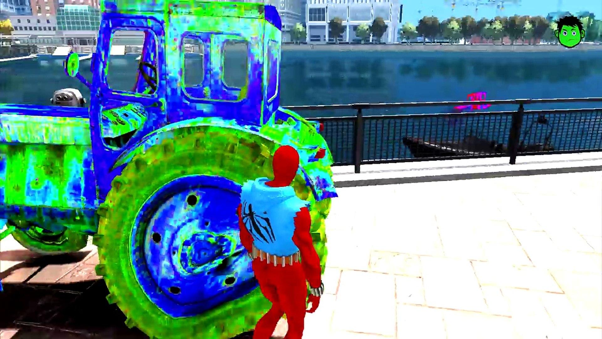 Трактор цветов и цветов spiderman и SPADERMAN стиль детские стишки дети песни