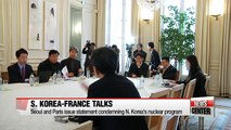 S. Korea, France issue statement condemning N. Korea's nuclear program