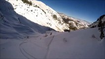 Dude skis right off a cliff and captures the whole thing on his helmet cam
