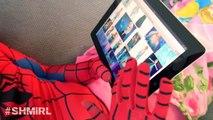 Pink SPIDERGIRL Frozen Elsa & Spiderman - Spidergirl Elsa Kisses Spiderman - Fun In Real Life SHMIRL
