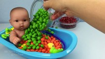 Fun Learning Colors with Baby Doll Bath Time In Skittles Pretend Play for Children
