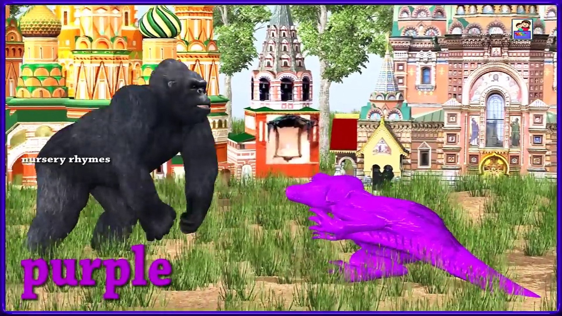 colors song || Learn Colors Song With Gorilla & Dinosaur || Funny Animations For Kids || Colors