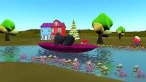 Dinosaurs, Elephant & Gorilla Cartoon In Rain Rain Go Away & Row Row Your Boat Nursery Rhymes