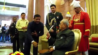Happy Birthday India President receiving Birhday Greetings from Officers and Staff of Rashtrapati Bhavan on 11-12-16