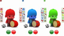Five Little Monkeys Jumping On The Bed | Learn Colors with Talking Pocoyo | Children Nursery Rhyme