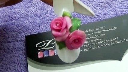 Thực hành kỹ thuật đắp hoa bột fantasy nail, hướng dẫn học cách đắp bột fantasy hoa lên móng tay 2