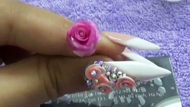 Thực hành kỹ thuật đắp hoa bột fantasy nail, hướng dẫn học cách đắp bột fantasy hoa lên móng tay 1