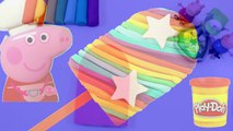 Peppa Pig toys & play doh frozen! - Create ice cream rainbow with play dough clay