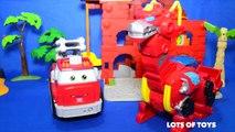 Transformers Rescue Bots Chuck & Friends Adventures! Heatwave Dino Bot, Walker Cleveland Jackhammer