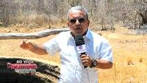 Repórter da TV Sertão da Paraíba Fernando Antônio mostra triste realidade de Seca no Sertão e ajoelha-se pedindo a Deus que mande chuva