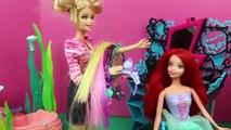 Barbie Hair Salon Little Mermaid ARIEL Gets BAD Hair from Barbie amp Frozen Princess Elsa