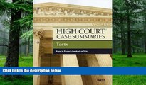 Buy  High Court Case Summaries on Torts, Keyed to Prosser Publisher s Editorial Staff  Book