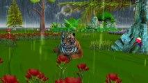 Dinosaurs, King Kong And Lion Cartoons Singing Rain Rain Go Away Children Nursery Rhymes