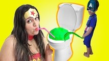 Wonder Woman DRINK FROM A TOILET Candy Moko Captain America PEE ON TOILET Superhero In Rea