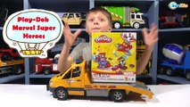 Play Doh CAN HEADS MARVEL SuperHeroes Toys for kids Playdough video Car Toys Review