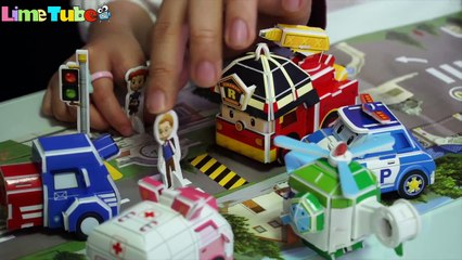 Robocar Poli Origami Making -  LimeTube 신호등을 지켜요! 라임의 로보카폴리 종이접기 자동차 장난감 놀이 라임튜브