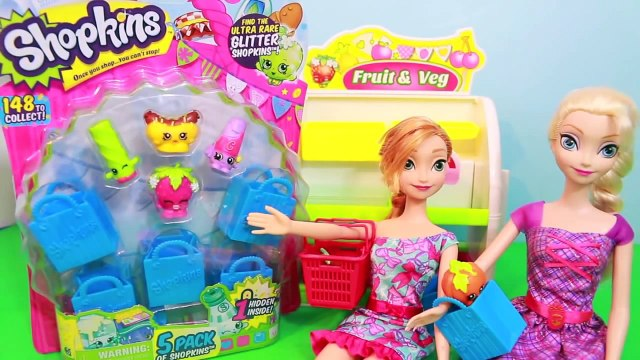 Disney Barbie Parody 5 Pack Toy, Frozen Shopkins Elsa and Anna Go Shopping