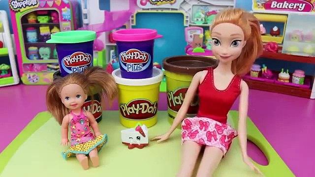 DisneyCarToys Frozen Anna Makes Play Doh Shopkins Cake with Frozen Kids Krista New Rare Shopkins