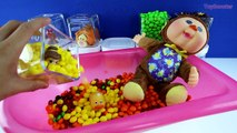 BABY DOLL BATH TIME! Learn Colors with Toy Surprise Skittles Cups & Baby Monkey