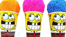 SpongeBob Foam Clay Surprise Eggs Ice Cream Cups Disney Frozen Minions Mickey Mouse RainbowLearning