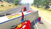 Comptines Bébé - Transport, grosses voitures colorées & Spiderman Mcqueen. Dessin animé fr