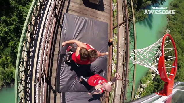 Freestyle Trampoline Slam Dunks on a Train by the Dunking Devils
